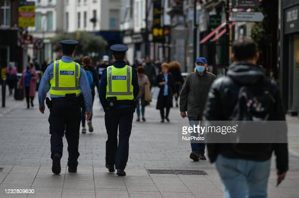 Members of Garda seen on Grafton Street in Dublin. After five months of strict lockdown, the first stage of defrosting the Irish economy and...