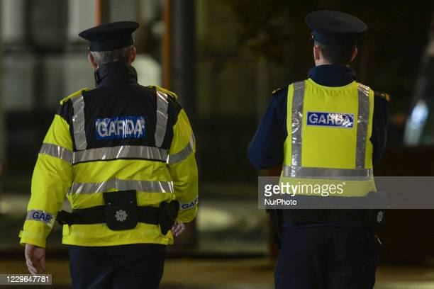 Members of Garda Siochana patroling Dublin city center during the Level 5 restrictions. On Monday, November 16 in Dublin, Ireland.