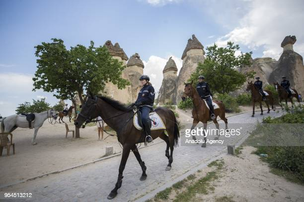 Members of Gendarmerie Horse and Dog Training Center which operates within the scope of Gendarmerie General Command since 2003 train horses in...