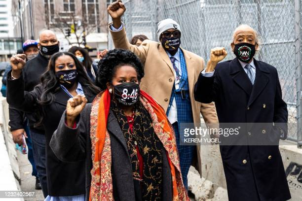 Members of George Floyd's family and Rev. Al Sharpton, the founder and President of National Action Network arrive at the Courthouse In Minneapolis,...
