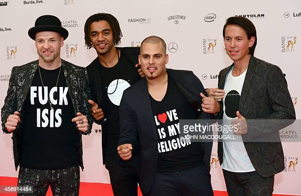 Members of German band Culcha Candela pose as they arrive for the Bambi awards on November 13 2014 in Berlin The Bambis are the main German media...