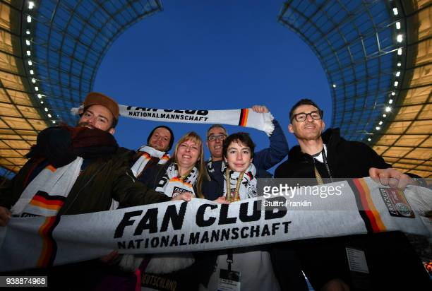 Members of German National Team Fan club prior to the international friendly match between Germany and Brazil at Olympiastadion on March 27 2018 in...