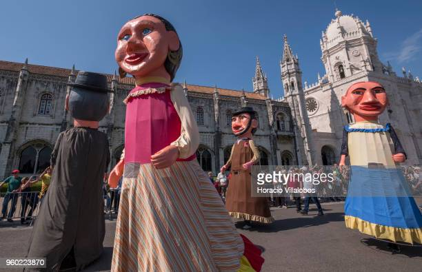 Members of Gigantones e Cabecudos de Viana do Castelo at the XIII Parade of Iberian Masks by Jeronimos Monastery during the XIII International...