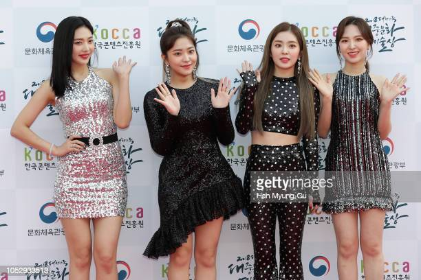 Members of girl group Red Velvet attend during the 2018 Korean Popular Culture And Arts Awards at Olympic Hall on October 24 2018 in Seoul South Korea