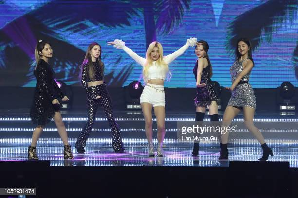 Members of girl group Red Velvet perform on stage during the 2018 Korean Popular Culture And Arts Awards at Olympic Hall on October 24 2018 in Seoul...