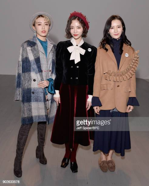 Members of girl group SNH48 attend the DGNAK show during London Fashion Week Men's January 2018 at BFC Show Space on January 8 2018 in London England
