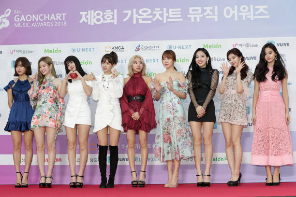 Members of girl group TWICE attend the 8th Gaon Chart KPop Awards on January 23 2019 in Seoul South Korea