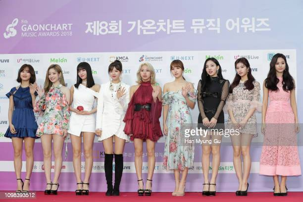 Members of girl group TWICE attend the 8th Gaon Chart K-Pop Awards on January 23, 2019 in Seoul, South Korea.
