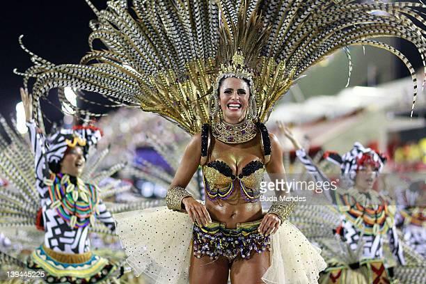 Members of Grande Rio during the samba school's parade of Rio de Janeiro's carnival at Marques de Sapucai on February 21 2012 in Rio de Janeiro...