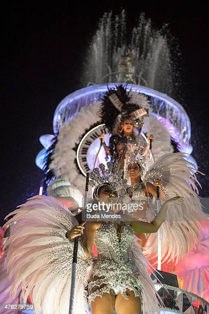 Members of Grande Rio Samba School during their parade at the 2014 Brazilian Carnival at Sapucai Sambadrome on March 02 2014 in Rio de Janeiro Brazil...