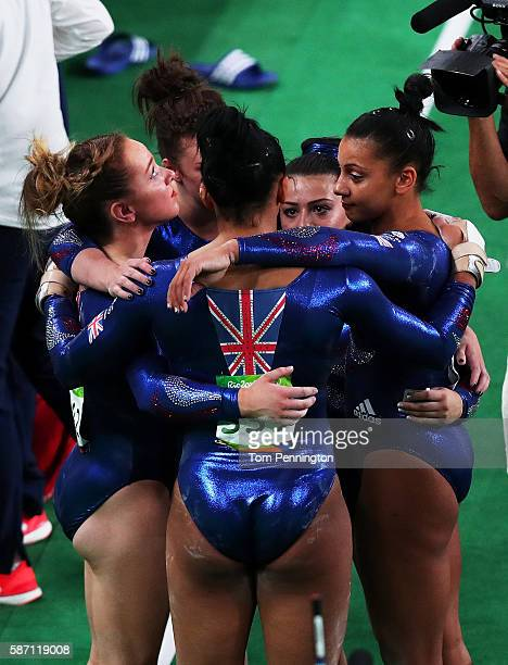 Members of Great Britain celebrate after Women's qualification for Artistic Gymnastics on Day 2 of the Rio 2016 Olympic Games at the Rio Olympic...