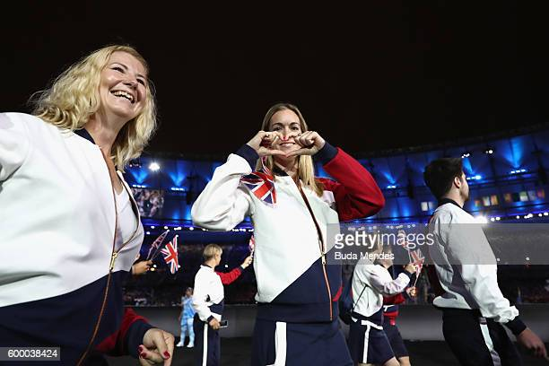 Members of Great Britain enter the stadium during the Opening Ceremony of the Rio 2016 Paralympic Games at Maracana Stadium on September 7 2016 in...