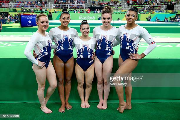Members of Great Britain pose for photographs after finishing fifth in the Artistic Gymnastics Women's Team Final on Day 4 of the Rio 2016 Olympic...