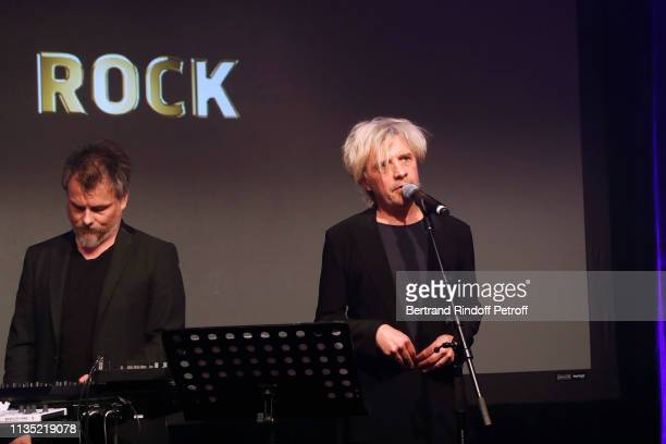 Members of Group Indochine Nicola Sirkis and Oli de Sat perform during the Stethos d'Or 2019 Charity Gala of the Foundation for Physiological...