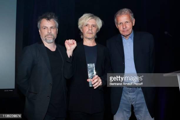 Members of Group Indochine Nicola Sirkis Gold Stethos category Rock Oli de Sat and journalist Patrick Poivre d'Arvor attend the Stethos d'Or 2019...