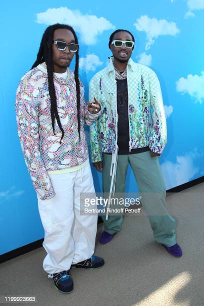 Members of Group Migos attend the Louis Vuitton Menswear Fall/Winter 2020-2021 show as part of Paris Fashion Week on January 16, 2020 in Paris,...