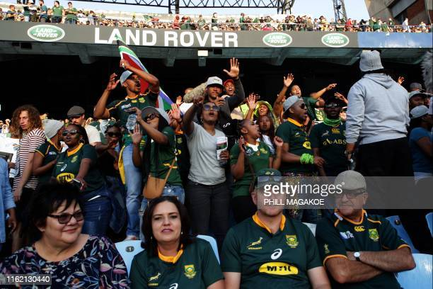 Members of Gwijo Squad, a sports fans movement, sing in support of the South African Rugby National Team during the 2019 Rugby Union World Cup...