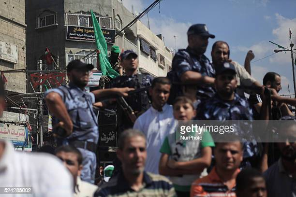 Members of Hamas police take part in a rally marking 13th anniversary of the socalled AlAqsa uprising or 'Second Intifada' and against visits to a...
