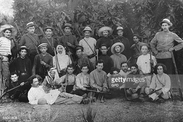 Members of Hashomer a Jewish security organization dedicated to protecting pioneering Zionist settlements pose with their rifles October 1 1900 in...