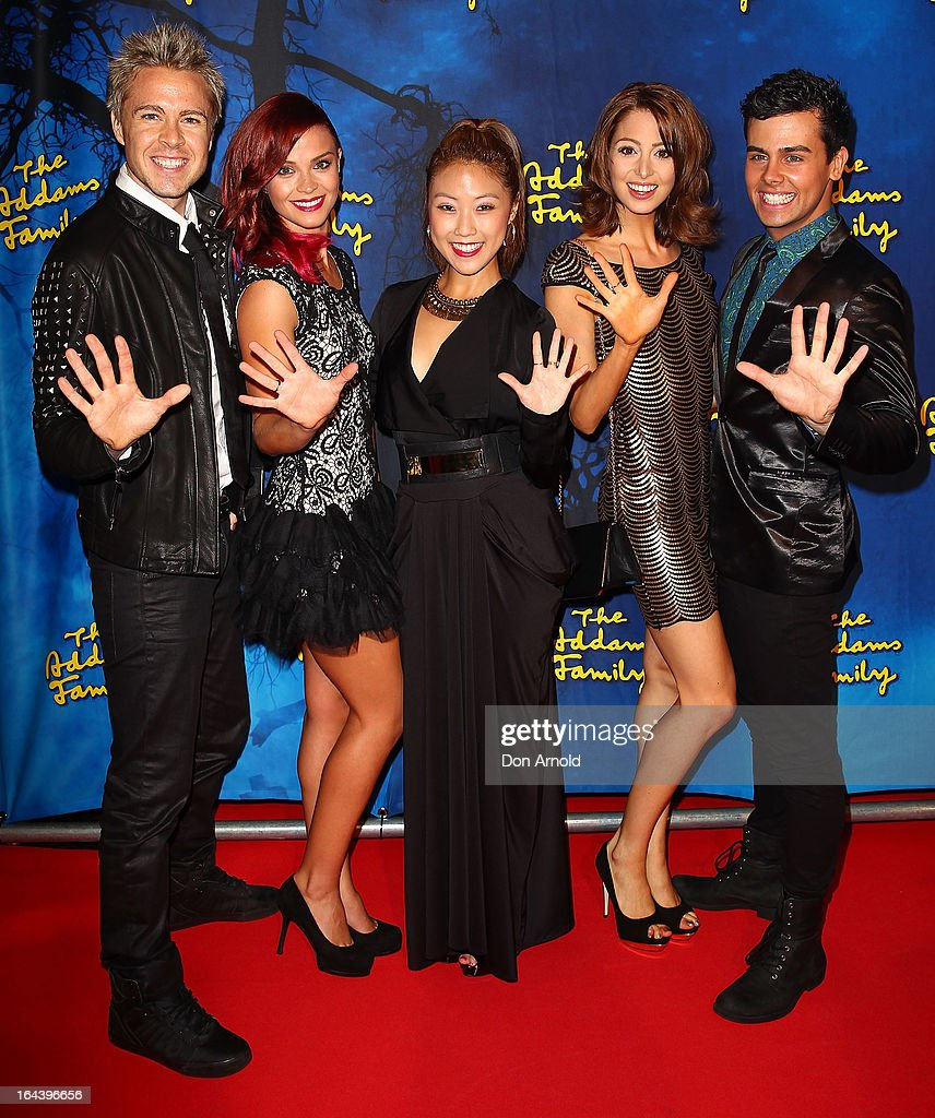 Members of Hi-5 arrive for 'The Addams Family' Musical Premiere at the Capitol Theatre on March 23, 2013 in Sydney, Australia.