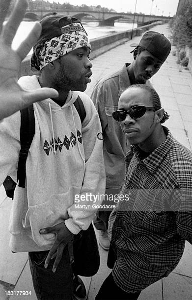 Members of hip hop group WuTang Clan pose for a group portrait London United Kingdom 1994 they are Method Man GZA and UGod