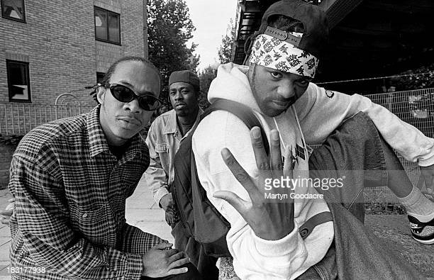 Members of hip hop group WuTang Clan pose for a group portrait London United Kingdom 1994 they are UGod GZA and Method Man
