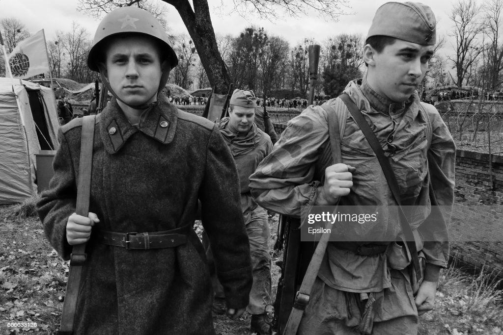 Members of historical clubs, acting as Soviet army soldiers, re