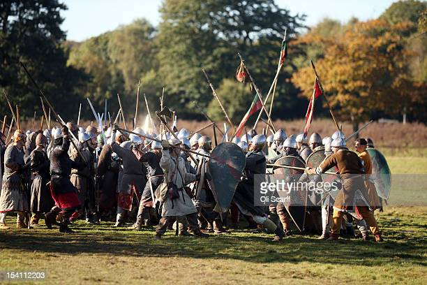 Members of historical reenactment groups assuming the role of Saxon and Norman soldiers perform the annual reenactment of the Battle of Hastings at...