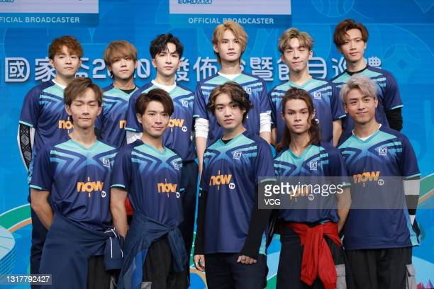 Members of Hong Kong boy band Mirror attend a launching ceremony of Now TV UEFA Euro 2020 event pass on May 13, 2021 in Hong Kong, China.
