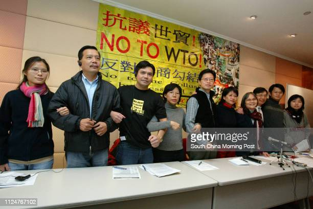 Members of Hong Kong People's Alliance on WTO speak at the briefing of the activities in People's Action Week and media arrangement during WTO...