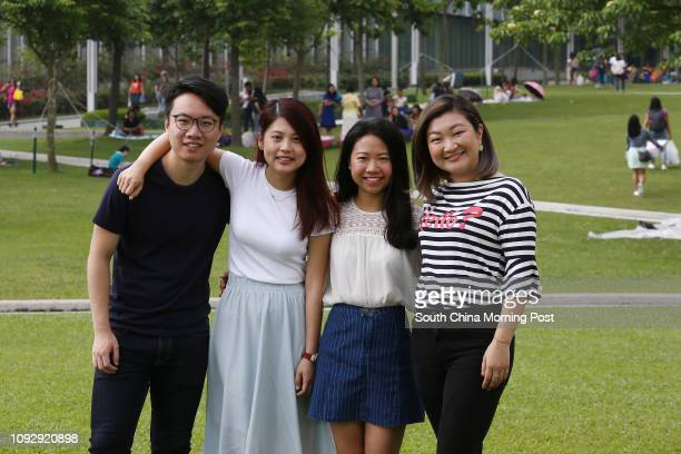 Members of Hong Kong Public Space Initiative Canon Wong Wong Yuling Kathy Ip Tszying and Anthea Cheung Hoikei at Tamar Park in Admiralty 14MAY17 SCMP...