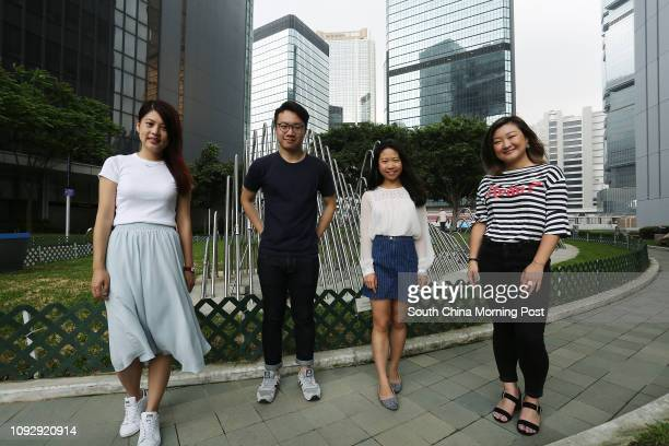 Members of Hong Kong Public Space Initiative Wong Yuling Canon Wong Kathy Ip Tszying and Anthea Cheung Hoikei at Tamar Park in Admiralty 14MAY17 SCMP...