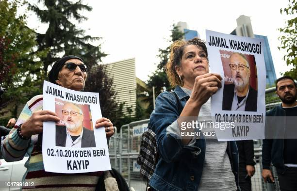 Members of Human Rights Association hold portraits of missing journalist Jamal Khashoggi reading Jamal Khashoggi is missing since October 2 during a...