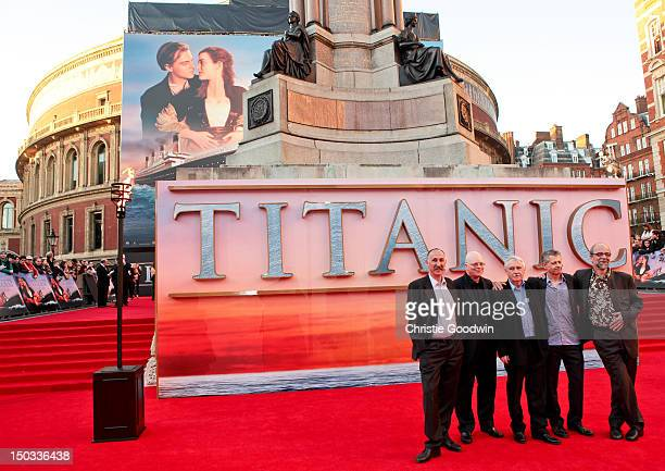 Members of I Salonisti the onscreen house band in the movie 'Titanic' and historical advisor John Altman arrive at the World Premiere of 'Titanic 3D'...