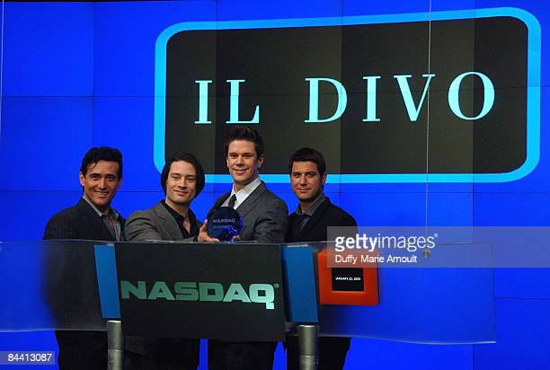 Members of Il Divo ring the NASDAQ closing bell at the NASDAQ MarketSite on January 22, 2009 in New York City.