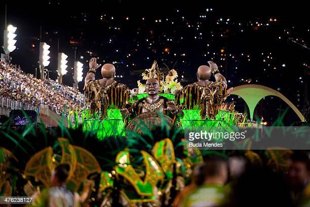 Members of Imperio da Tijuca Samba School celebrate during the 2014 Brazilian Carnival at Sapucai Sambadrome on March 02 2014 in Rio de Janeiro...