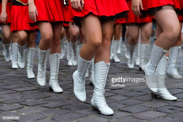 Members of 'Incanto' a local group of majorettes during the opening ceremony of the 17th edition of World Festival of Polish Diaspora Folkloric...