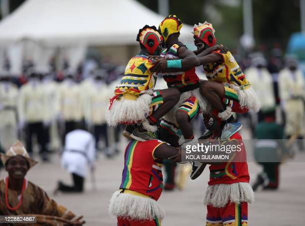Members of Independence troop performs at the Eagles Square in Abuja, Nigeria during the countrys 60th Independence Celebration on October 1, 2020. -...