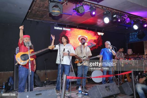 Members of Indian Ocean band perform at BPFLYP@MTV Café Connaught Place on June 22 2018 in New Delhi India FLYP@MTV aims at organising one of the...