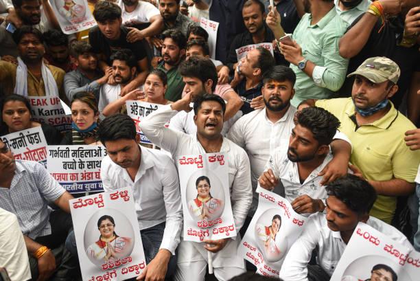IND: Youth Congress Protest Against Karnataka Minister For Women And Child Development Shashikala Jolle