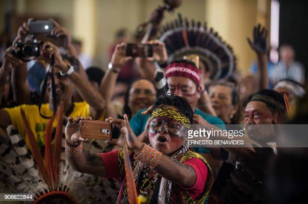 Members of indigenous communities from Peru Brasil and Bolivia gather during the assembly of the Amazonian church in Puerto Maldonado before the...