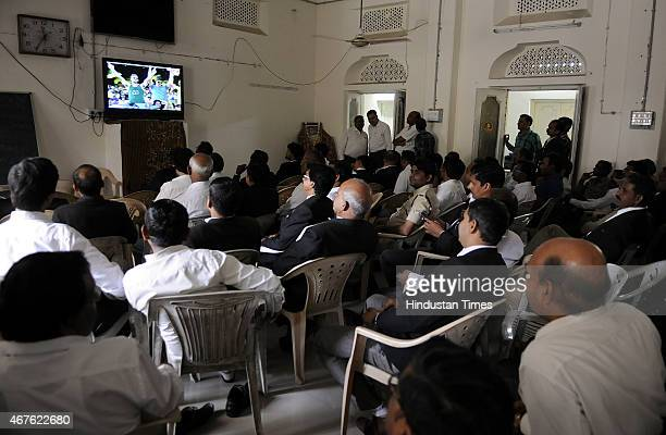 Members of Indore Bar Association enjoying India vs Australia Cricket World cup semifinal match on March 26 2015 in Indore India Australia...