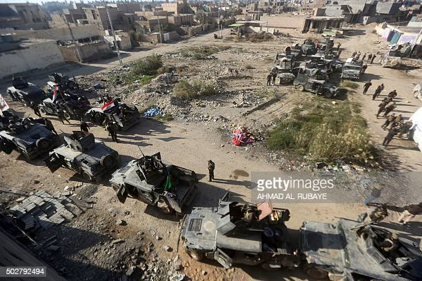 Members of Iraq's elite counterterrorism service gather on December 29 2015 in the city of Ramadi the capital of Iraq's Anbar province about 110...