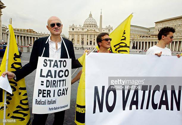 Members of Italian gay rights group and political party Radical demonstrate 31 July 2003 at piazza San Pietro in the Vatican City against the...