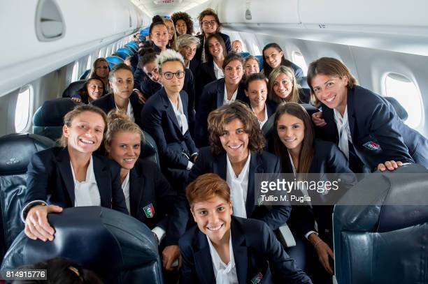members of Italy women's national team pose ahead of the UEFA Women's EURO 2017 on July 15 2017 in Flight