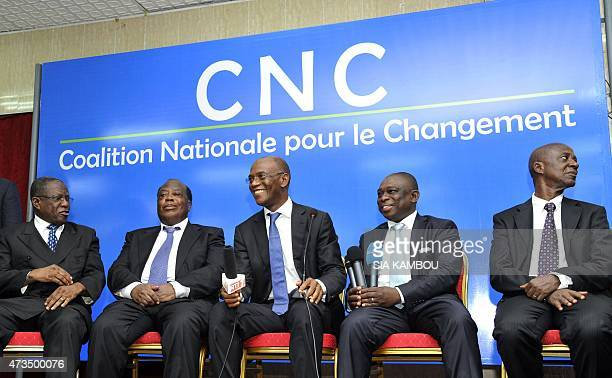 Members of Ivory Coast's newly formed National Coalition for Change including Kablan Brou of the Democratic Party of Ivory Coast former prime...