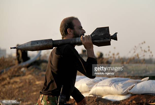 Members of Jabhat asSham forces make preparations before they attack on Daesh terrorists at Tal Malid Village in Mari District of Aleppo Syria on...