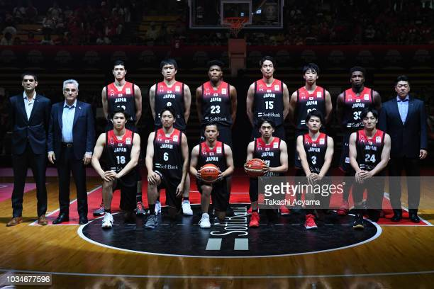 Members of Japan national team line up for team photo prior to the FIBA Men's World Cup Asian Qualifier 2nd Round Group F match between Japan and...