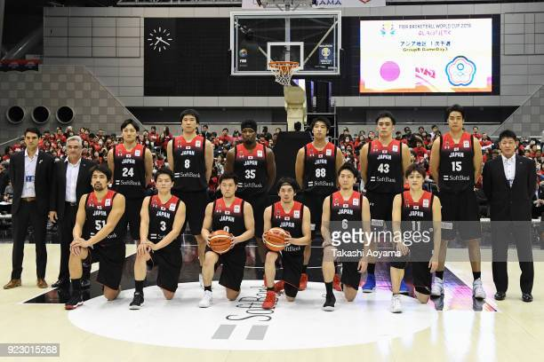 Members of Japan national team line up for team photo prior to the FIBA World Cup Asian Qualification Group B match between Japan and Chinese Taipei...