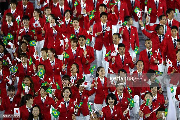 Members of Japan participate in the Opening Ceremony of the Rio 2016 Olympic Games at Maracana Stadium on August 5, 2016 in Rio de Janeiro, Brazil.